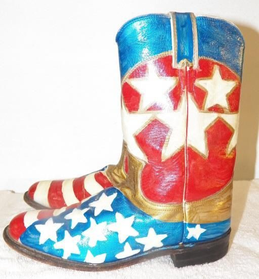 Justin Ladies Painted Boots Rodeo Clown Boots Size 6 1 2