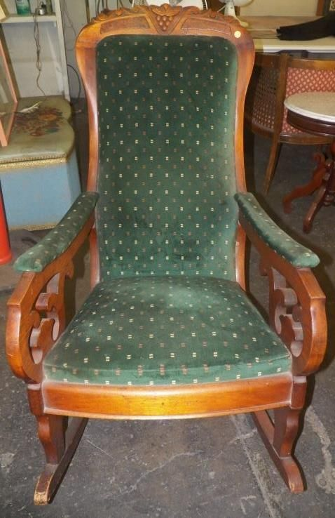 Image 1 : Antique Lincoln Rocker Victorian Mahogany Upholstered Parlor Rocking  Chair (Local Pick Up ... - Antique Lincoln Rocker Victorian Mahogany Upholstered Parlor Rocking