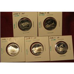 1. Set Of 5 2006-S Proof 90% Silver Statehood Quarters – NV, NE, CO, ND, SD
