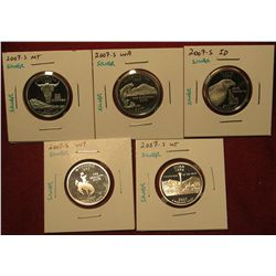 2. Set Of 5 2007-S Proof 90% Silver Statehood Quarters – MT, WA, ID, WY, UT