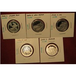 4. Set Of 5 2012-S Proof 90% Silver America The Beautiful Quarters – PR, NM, ME, HI, AK – Scarce
