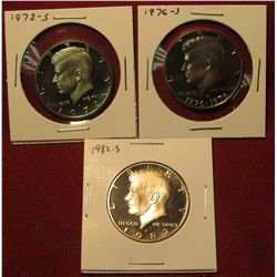 5. 3 Proof Kennedy Halves – 1972-S, 1976-S & 1982-S