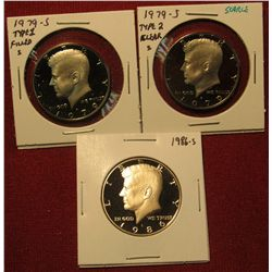 6. 3 Proof Kennedy Halves – 1979-S Type 1, 1979-S Type 2 (scarce) & 1986-S