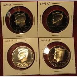 7. 4 Proof Kennedy Halves – 2003-S, 2007-S, 2008-S & 2009-S