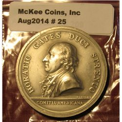 25.1777 Pewter Medal Horatio Gates Issued By The U.S. Mint For The American Bicentennial.