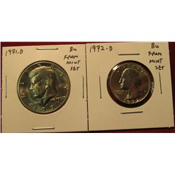 31. 1972-D Washington Quarter & 1971-D Kennedy Half, both BU  from Mint Sets
