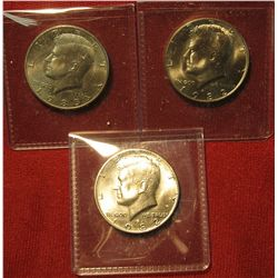32. (3) BU  Kennedy Halves – 1982-P, 1982-D & 1983-D – scarcer dates in BU  as very few Mint Sets we