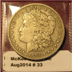 33. 1892-O Morgan Dollar VF