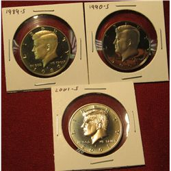 35.(3) Proof Kennedy Halves – 1989-S, 1990-S & 2001-S