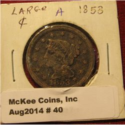 40. 1853 U.S. Large Cent. VF. Some verdigris.