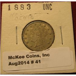 41. 1883 NC Liberty Nickel. No Cent AU.