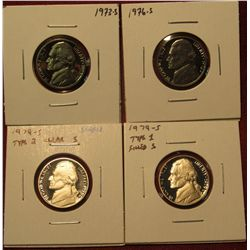 44. (4) Proof Jefferson Nickels – 1973-S, 1976-S, 1979-S type 1 & 1979-S type 2 (scarce).