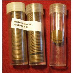 50. (73) Clog Wheat Lincoln Cent Mint Errors in plastic tubes.