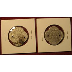 """463. Good For 25c & Good For 50c in Trade Tokens """"C.S. McKinley/Gen./Mdse./Russel, Ia."""" Both hole ca"""