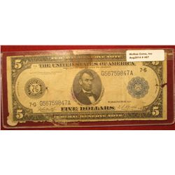467. Series 1914 U.S. $5 Federal Reserve Note from Chicago, Illinois. Signed Burke & Houston. Edges