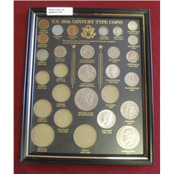 470. U.S. 20th Century Type Coin Glass frame with partial set of scarce coins. Includes 1907 Indian