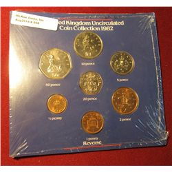 558. 1982 United Kingdom Uncirculated Coin Collection in original Royal Mint holder. Gem BU . 7 pcs.