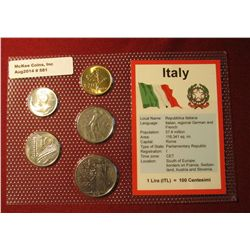 581. Five-piece Italian Type Set of Coins in original holder. Gem BU .
