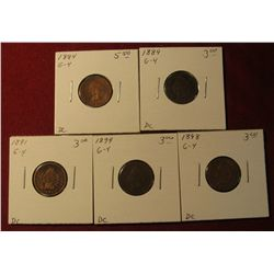 586. 1884, 1889, 1891, 1898, & 1899 Indian Head Cents. All G-4. Redbook value $17.50.