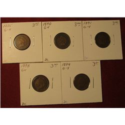 587. 1885, 1890, 1891, 1898, & 1899 Indian Head Cents. All G-4. Redbook value $15.00.