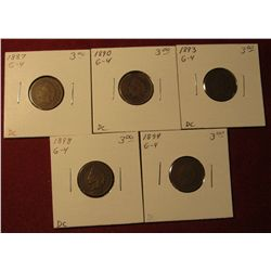 588. 1887, 1890, 1893, 1898, & 1899 Indian Head Cents. All G-4. Redbook value $15.00.