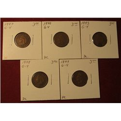 589. 1887, 1890, 1893, 1898, & 1899 Indian Head Cents. All G-4. Redbook value $15.00.