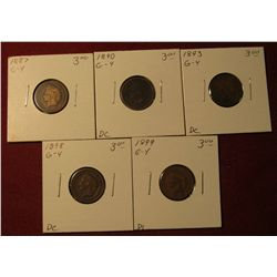 590. 1887, 1890, 1893, 1898, & 1899 Indian Head Cents. All G-4. Redbook value $15.00.