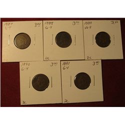 591. 1887, 88, 89, 90, & 91 Indian Head Cents. All G-4. Redbook value $15.00.