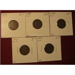 592. 1887, 88, 89, 90, & 91 Indian Head Cents. All G-4. Redbook value $15.00.