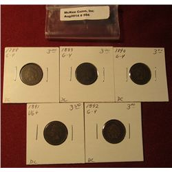 593. 1888, 89, 90, 91, & 92 Indian Head Cents. All G-4. Redbook value $15.00.