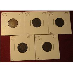 594. 1888, 89, 90, 91, & 92 Indian Head Cents. All G-VG. Redbook value $15.00.