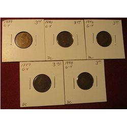 595. 1888, 89, 90, 91, & 92 Indian Head Cents. All G-VG. Redbook value $15.00.
