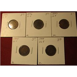 597. 1890, 96, 97,  98, & 99 Indian Head Cents. All G-4. Redbook value $15.00.
