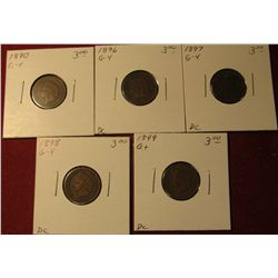 599. 1890, 96, 97,  98, & 99 Indian Head Cents. All G-4. Redbook value $15.00.