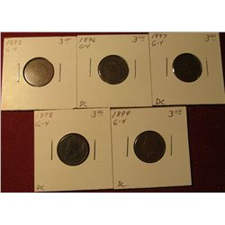 600. 1892, 96, 97,  98, & 99 Indian Head Cents. All G-4. Redbook value $15.00.