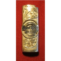 803. Seminole Hard Rock Hotel & Casino Tampa silver Bic style lighter sleeve – marked STERLING, heav