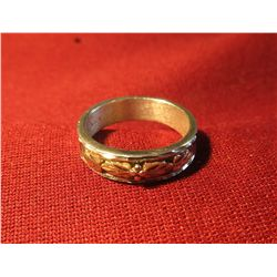 814. Sterling ring from Black Hills Gold in South Dakota – marked 925 and 12K, has yellow and rose g