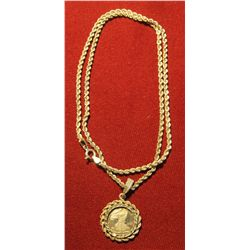 826. Silver rope necklace with miniature .999 Silver Eagle. Necklace and bezel are both marked 925,