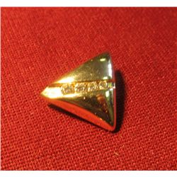 827. 14K yellow triangular slide style pendant/charm with 4 diamonds. Weighs 3+ grams, marked 14K KA