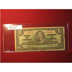 922.Series 1937 Bank of Canada $1 banknote, Gordon-Towers signatures
