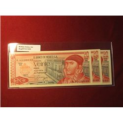 935.3 (three) sequentially numbered series 08 Jul 1977 Mexico 20 Pesos banknotes, all Crisp Uncircu