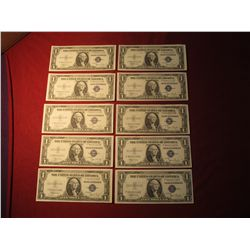 946. 10 (ten) sequentially numbered Series 1935-C US $1 Silver Certificates, all Crisp Uncirculated