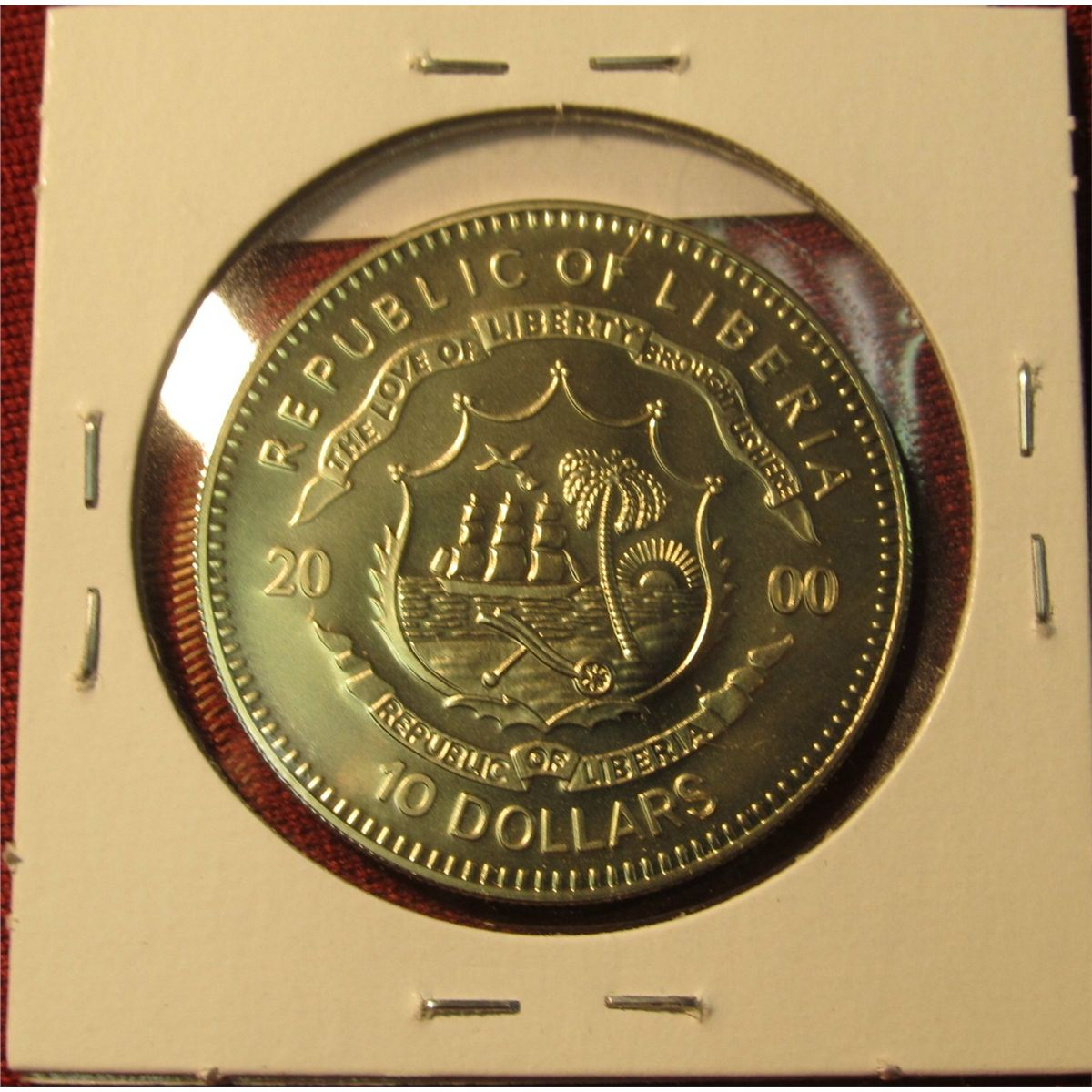 2000 Republic Of Liberia 10 Dollars Commemorative Coin Featuring The Statue