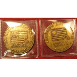 1320. 2 Bicentennial medals issued for Boy Scouts featuring flags from the Revolutionary War