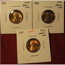 1328. 3 Special Mint Set (SMS) Lincoln Memorial Cents – 1965 P, 1966 P & 1967 P