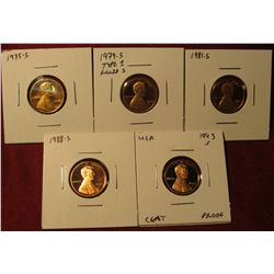 1329. 5 Proof Lincoln Memorial Cents – 1975-S, 1979-S type 1 filled S, 1981-S, 1988-S & 1993-S