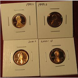 1330. 4 Proof Lincoln Memorial Cents – 1994-S, 1999-S, 2000-S & 2001-S