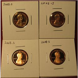 1331. 4 Proof Lincoln Memorial Cents – 2002-S, 2003-S, 2007-S & 2008-S