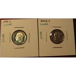 1347. 2 Proof SILVER Roosevelt Dimes – 1999-S & 2002-S