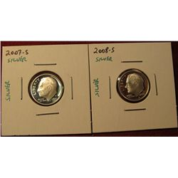 1348. 2 Proof SILVER Roosevelt Dimes – 2007-S & 2008-S